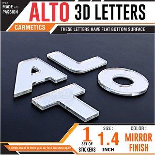 CarMetics ALTO 3d letters  1 Set MIRROR FINISH 3d stickers bonnet 3d logo accessories exterior graphics bonnet stickers