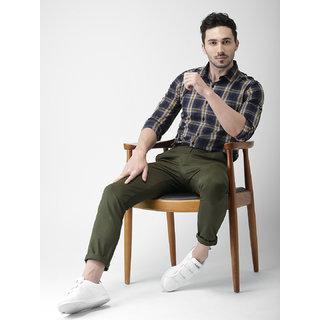 CNC Regular Fit 4 Pocket's Men Olive Casual Trousers