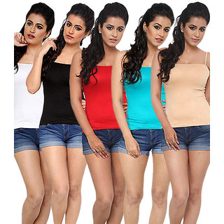 Women's Thin Straps Camisoles Multicolor (Pack of 5) White, Black, Red, Aqua, Beige