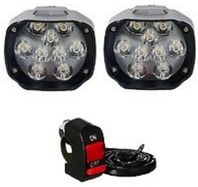 ESHOPGLEE Bike LED Bulk Headlight 9 LED Fog Lamps with On Off Switch - Set of 2
