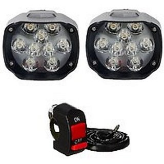 Motorcycle Bike LED Headlight Driving 9 LED Fog Spot Light Lamp with On Off Switch - Set of 2