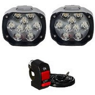 ESHOPGLEE Bike LED Bulk Headlight 9 LED Fog Lamps with On Off Switch - Set of 2