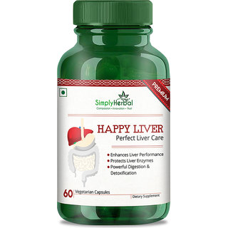 Simply Herbal Happy Liver 800 mg (Perfect Liver Care) 60 Veg. Capsules (1)