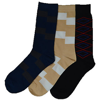 Formal Cotton Full Length Multicolor Socks For Men Pack Of 5