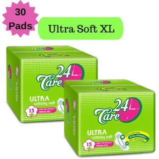 24 Care Ultra Cottony Soft XL Pack 2 Of 30 Sanitary Napkins Pads