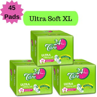24 Care Ultra Cottony Soft XL Pack 3 Of 45 Sanitary Napkins Pads