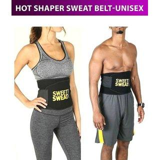 Unisex Sweat Slim Belt Waist Trimmer Belly Fat Burner Tummy Wrap Body Slim look Exercise Belt (Black)