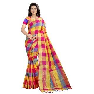 Women's Poly Cotton Printed Saree (Panetar Pink)