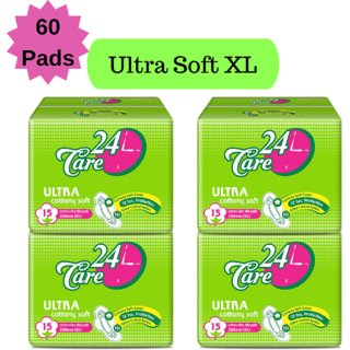 24 Care Ultra Cottony Soft XL Pack 4 Of 60 Sanitary Napkins Pads