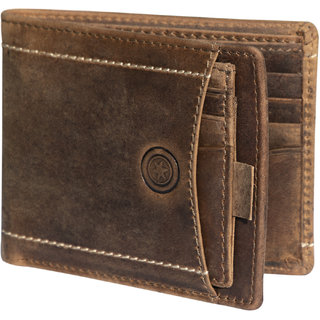 POLLSTAR Brown Ultra Slim Genuine Pure Leather Bi-fold Wallet Minimalist Card Wallet For Men With Gift Box (WL707BN)