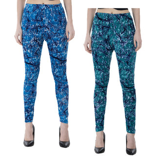 IndiWeaves Women Velvet Printed Leggings Pack of 2