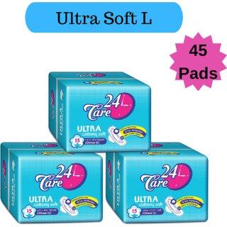 24 Care Ultra Cottony Soft L Pack 3 Of 45 Sanitary Napkins Pads