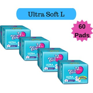 24 Care Ultra Cottony Soft L Pack 4 Of 60 Sanitary Napkins Pads