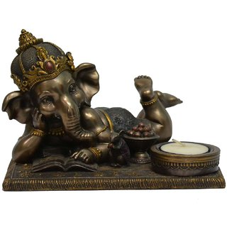 LAVANSHI 5'' Ganesh Idol Decorative Showpiece - 12 cm (Polypropylene, Black)