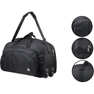 2db47d7d77859f Buy Polyester Waterproof Lightweight 55 L Luggage Black Travel Duffel Bag  with 2 Wheels Online - Get 34% Off
