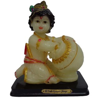 LAVANSHI Krishna Idol Decorative Showpiece - 15 cm (Polypropylene, Multicolor)