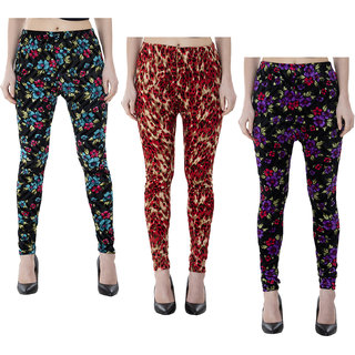 IndiWeaves Women Velvet Printed Leggings Pack of 3