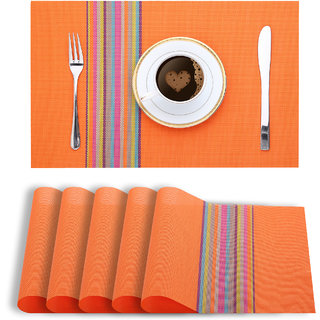 Smile Mom Table Place Mats for Dining Table 6 Piece PVC, Washable/ Anti-Skid (45 X 30 CM ,Orange Stripes )