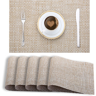 Smile Mom Table Place Mats for Dining Table 6 Piece PVC, Washable/ Anti-Skid (45 X 30 CM ,Cream Checks )