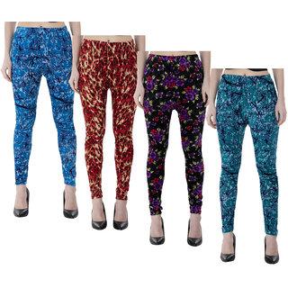 IndiWeaves Women Velvet Printed Leggings Pack of 4