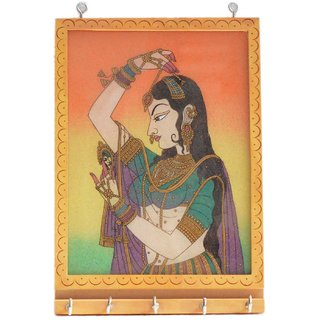 LAVANSHI Hand Crafted KADAMBA Wood BANI Thani Key Holder Box with GEM Stone Finish (5 Hooks, Multicolor)