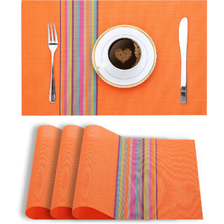 Smile Mom Table Place Mats for Dining Table 4 Piece PVC, Washable/ Anti-Skid (45 X 30 CM ,Orange Stripes )