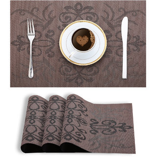 Smile Mom Table Place Mats for Dining Table 4 Piece PVC, Washable/ Anti-Skid (45 X 30 CM ,Floral Brown )
