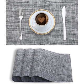 Smile Mom Table Place Mats for Dining Table 4 Piece PVC, Washable/ Anti-Skid (45 X 30 CM ,Textured Silver )