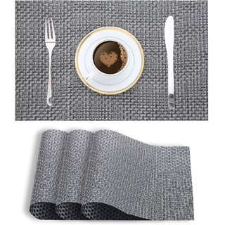 Smile Mom Table Place Mats for Dining Table 4 Piece PVC, Washable/ Anti-Skid (45 X 30 CM ,Black Checks )