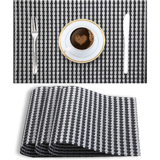 Smile Mom Table Place Mats for Dining Table 4 Piece PVC, Washable/ Anti-Skid (45 X 30 CM ,Silver Black Checks )