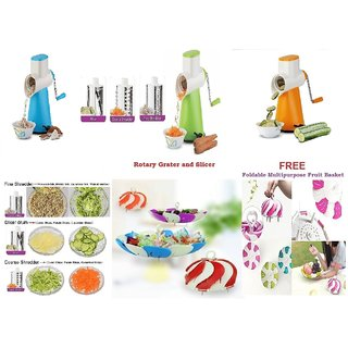 Rotary Grater  Slicer with 3 Stainless Steel Blade ( free Foldable Multipurpose Fruit Basket )
