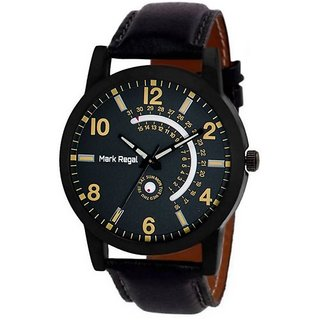 Mark Regal Black Dail Black Leather Strap Watch For Mens