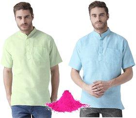 Khadio Men's Multicolor Short Kurtas With Free Pink Gulal