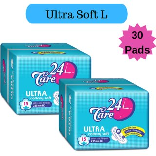 24 Care Ultra Cottony Soft L Pack 2 Of 30 Sanitary Napkins Pads