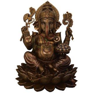 LAVANSHI Copper Finish Sitting Ganesha Decorative Showpiece - 12.5