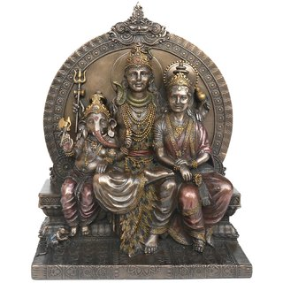LAVANSHI Copper Finish Sitting Shiva Family Decorative Showpiece - 8