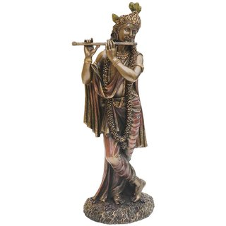LAVANSHI Copper Finish Standing KRISHANA Decorative Showpiece - 10