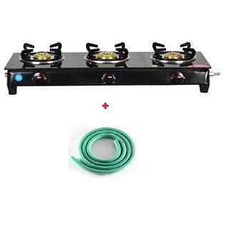 SEE WAY 3 Burner Nano Glass Manual Gas Stove black finish + High quality green hose pipe