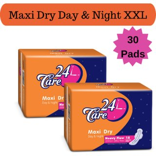 24 Care Maxi Dry Day Night Heavy Flow XXL Pack 2 Of 30 Sanitary Napkins Pads