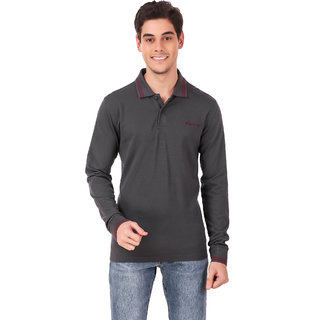 Lotto L73 Polo Ls Gry Bld/Red Cha Top Men
