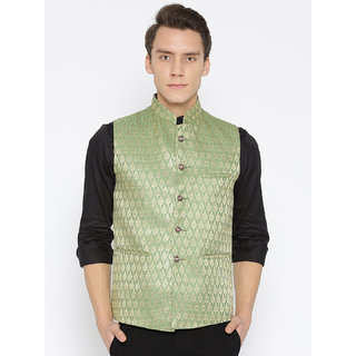 Routeen Banarasi Silk Nehru Jackets for Men