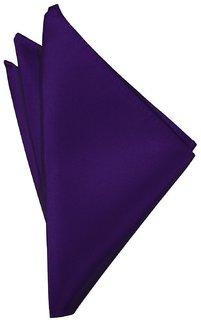 Voici France - Premium Purple Pocket Square microfiber Men Plain Satin Wedding Handkerchief Pocket Square