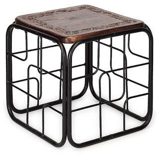 wood iron table