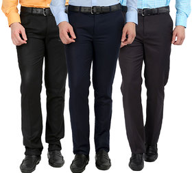 Gwalior Pack Of 3 Formal Trousers - Black, Blue, Grey
