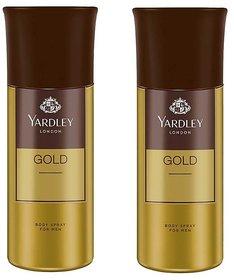 Yardley London Gold Body Spray - For Men 300 ml each,pack of 2.