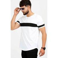 Dimyra Men's White Black Plain Cotton Round Neck Casual T-Shirt