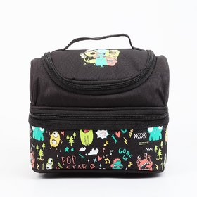 Smily Kiddos Smily Dual Slot Lunch Bag ( Black ) a4a2aaa3a5178