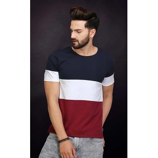 Dimyra Multicolor Plain Round Neck Casual T-Shirts For Men NR