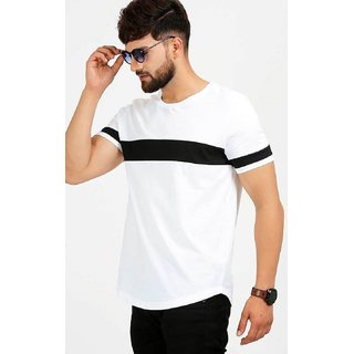 Dimyra Men's White Black Plain Cotton Round Neck Casual T-Shirt NR