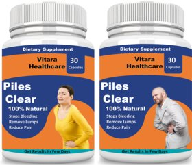 Vitara Healthcare Piles Clear Herbal Capsules For Piles Treatment (30 Capsules Each) Pack Of 2